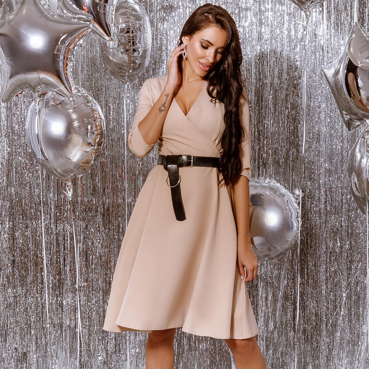 Платье женское с кожаным поясом Бежевый