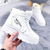 Женские зимние ботинки на фигурной подошве платформе белые, фото 1