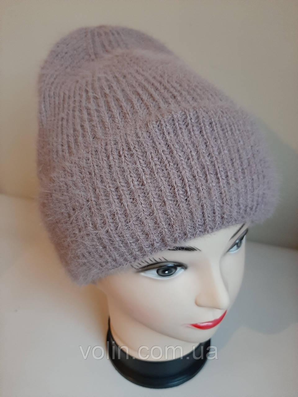 Зимняя женская вязаная шапка с ангорой Ева.