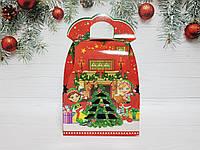 Упаковка Новый год коробка Санта с эльфами на 700 гр.