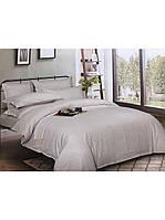 Евро комплект постельного белья двуспальный Страйп-Сатин Светло-Серый 240х220 см (544201)