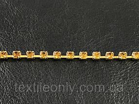 Страхова ланцюг розмір каменю 4 мм колір золото