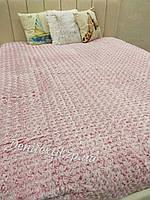 Велюровое двойное покрывало на кровать, размер 220-240 см цвет красный