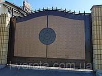 Откатные металлические ворота с рельефным декором (эффект жатки) 4000×2500, фото 3