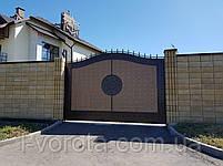 Откатные металлические ворота с рельефным декором (эффект жатки) 4000×2500, фото 2