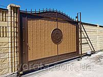 Откатные металлические ворота с рельефным декором (эффект жатки) 4000×2500, фото 5