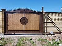 Откатные металлические ворота с рельефным декором (эффект жатки) 4000×2500, фото 4