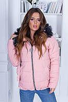 Модная женская куртка на синтепоне 250ой плотности с мехом на капюшоне