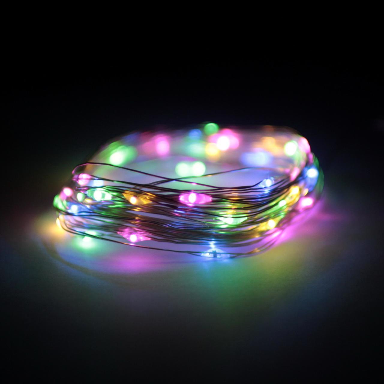 Декор Светодиодная Гирлянда Нить ЛЕД Разноцветная На Батарейках 4,5м 50led Multicolor
