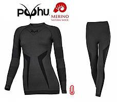 Комплект женского термобелья с шерстью мериноса Puhu Merino Wool Termal зональное шерстяное термобелье