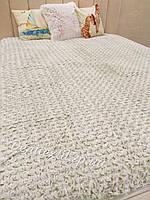Велюровое двойное покрывало на кровать, размер 220-240 см цвет зеленый
