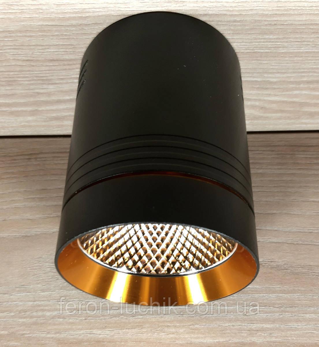 Светильник накладной Feron AL542 10W 4000K 850Lm точечный светодиодный черный+золото