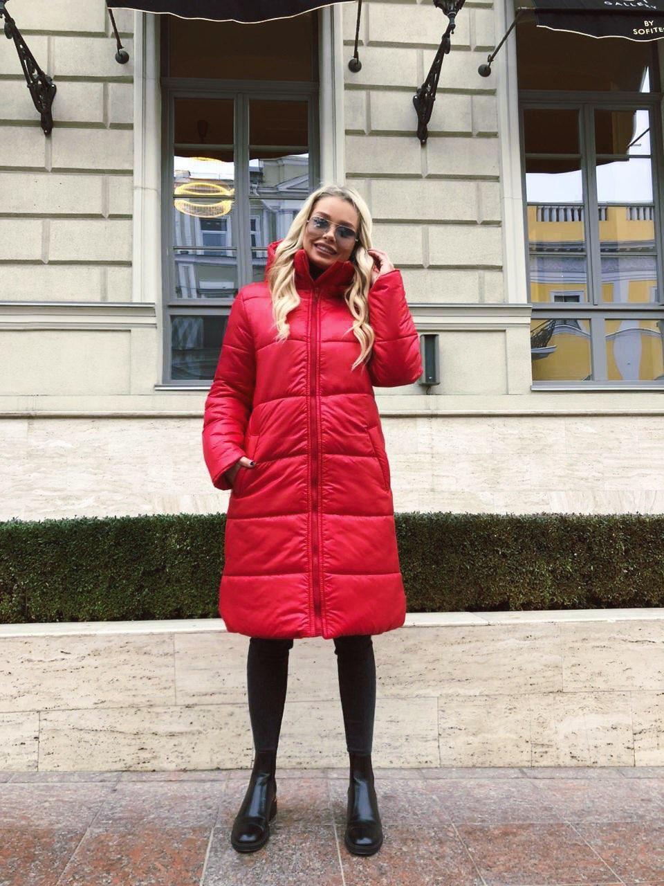 Длинная теплая куртка с капюшоном 46-48