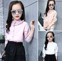 Блузки однотонні для дівчаток / Белые школьные рубашки с длинными рукавами для девочек, с круглым вырезом рожевий, 160