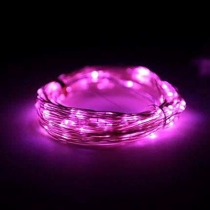 Декор Светодиодная Гирлянда Нить Проволока ЛЕД Розовая На Батарейках 10м 100led Pink, фото 2