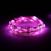 Декор Светодиодная Гирлянда Нить Проволока ЛЕД Розовая На Батарейках 10м 100led Pink