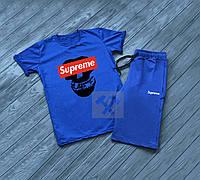 Мужской комплект футболка + шорты в стиле SUPREME синего цвета