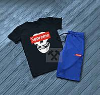 Мужской комплект футболка + шорты в стиле SUPREME синего и черного цвета