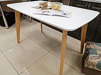 Стол кухонный Модерн 150 см Бук с Белым  раскладной 150 (190)х90 СО-293.4 массив бука с МДФ