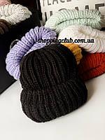 Женская шапка зимняя с двойным отворотом черая шерсть/акрил