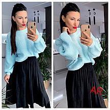 Объемный двусторонний вязанный свитер с пуговицами 42-46 р, фото 2