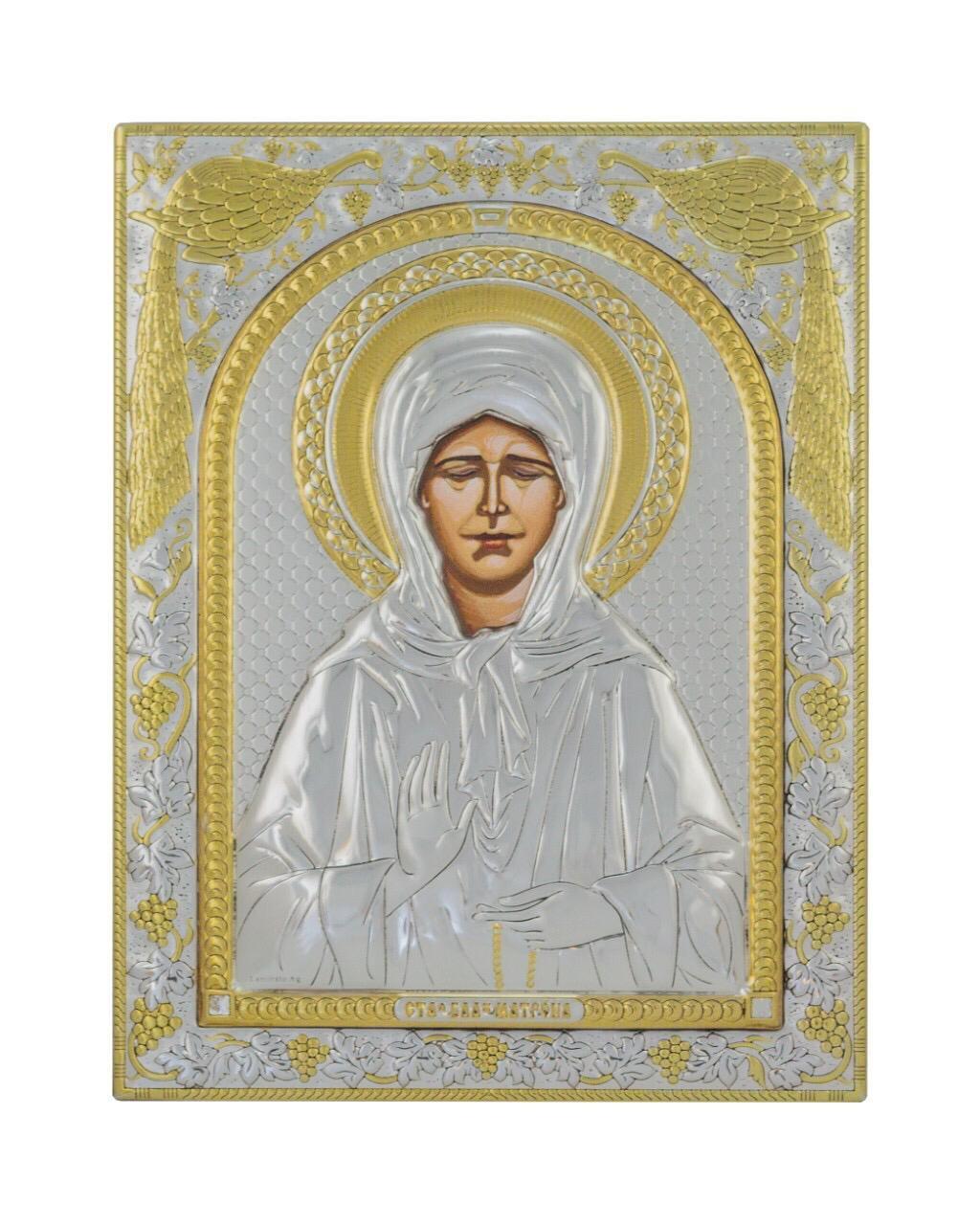 Святая Матрона Московская Икона греческая 120 мм х 160 мм серебряная с позолотой