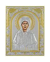 Святая Матрона Московская Икона греческая 120 мм х 160 мм серебряная с позолотой, фото 1