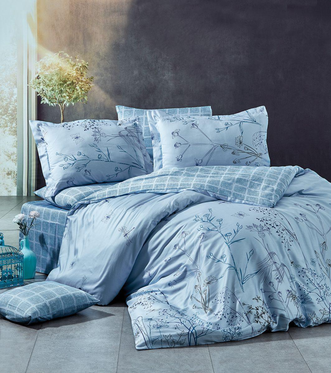 Евро-комплект постельного белья Nazenin Gardenia mavi Сатин. Турция