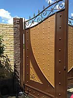 Распашные металлические ворота с рельефным декором (эффект жатки) 3200, 2500, фото 3