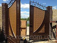 Распашные металлические ворота с рельефным декором (эффект жатки) 3200, 2500, фото 4
