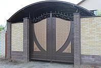Распашные металлические ворота с рельефным декором (эффект жатки) 3200, 2500, фото 2