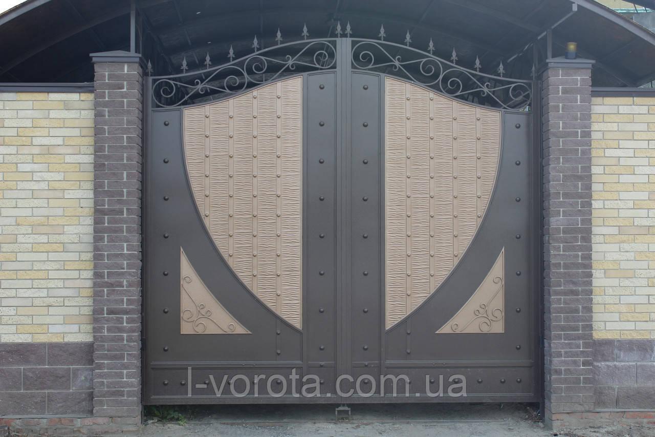 Распашные металлические ворота с рельефным декором (эффект жатки) 3200, 2500