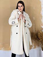 Женская длинная шуба эко-меха с капюшоном - белая