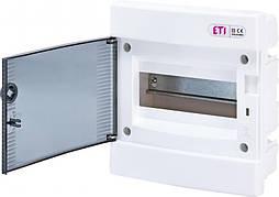 Модульный щиток, 8 модулей, 1 ряд, IP40, ECM-8PT, прозрачная дверца, 1101010