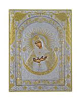 Остробрамская икона  175 мм х 225 мм серебряная с позолотой, фото 1