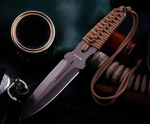 Нож для метания металл + плетеный шнур на рукояти  черное лезвие с 2х сторон заточкой + чехол