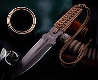 Нож для метания металл + плетеный шнур на рукояти  черное лезвие с 2х сторон заточкой + чехол, фото 1