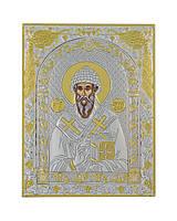 Икона Светого Спиридон 120 мм х 160 мм серебряная с позолотой, фото 1
