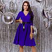 Платье женское с кожаным поясом Батал Электрик, фото 6