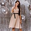Платье женское с кожаным поясом Батал Бежевый, фото 7