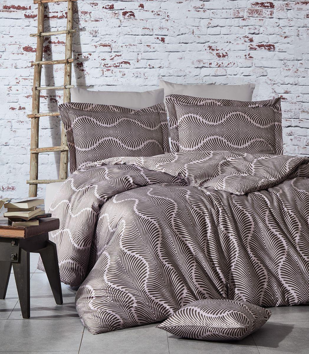 Евро-комплект постельного белья Nazenin Hira pudra Сатин. Турция