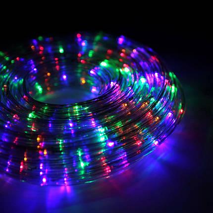 Декор Гирлянда Светодиодный Прозрачный Шланг Шнур Дюралайт ЛЕД Мульти RGB 20м От 220В С Адаптером 8 Режимов, фото 2