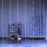 "Гирлянда-штора электрическая на 280 Led ""Водопад"" белая 3*1,5 м, фото 2"