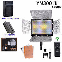 Комплект постоянного накамерного видеосвета, LED панель Yongnuo YN-300 III (5500K), фото 1