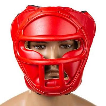 Шлем боксерский с пластиковой маской Ever (р-р S-L, красный)