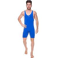 Трико для борьбы и тяжелой атлетики, пауэрлифтинга ASIC синее (бифлекс, р-р XS-XL-42-52)