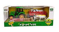 Трактор с прицепом фермерский с животным