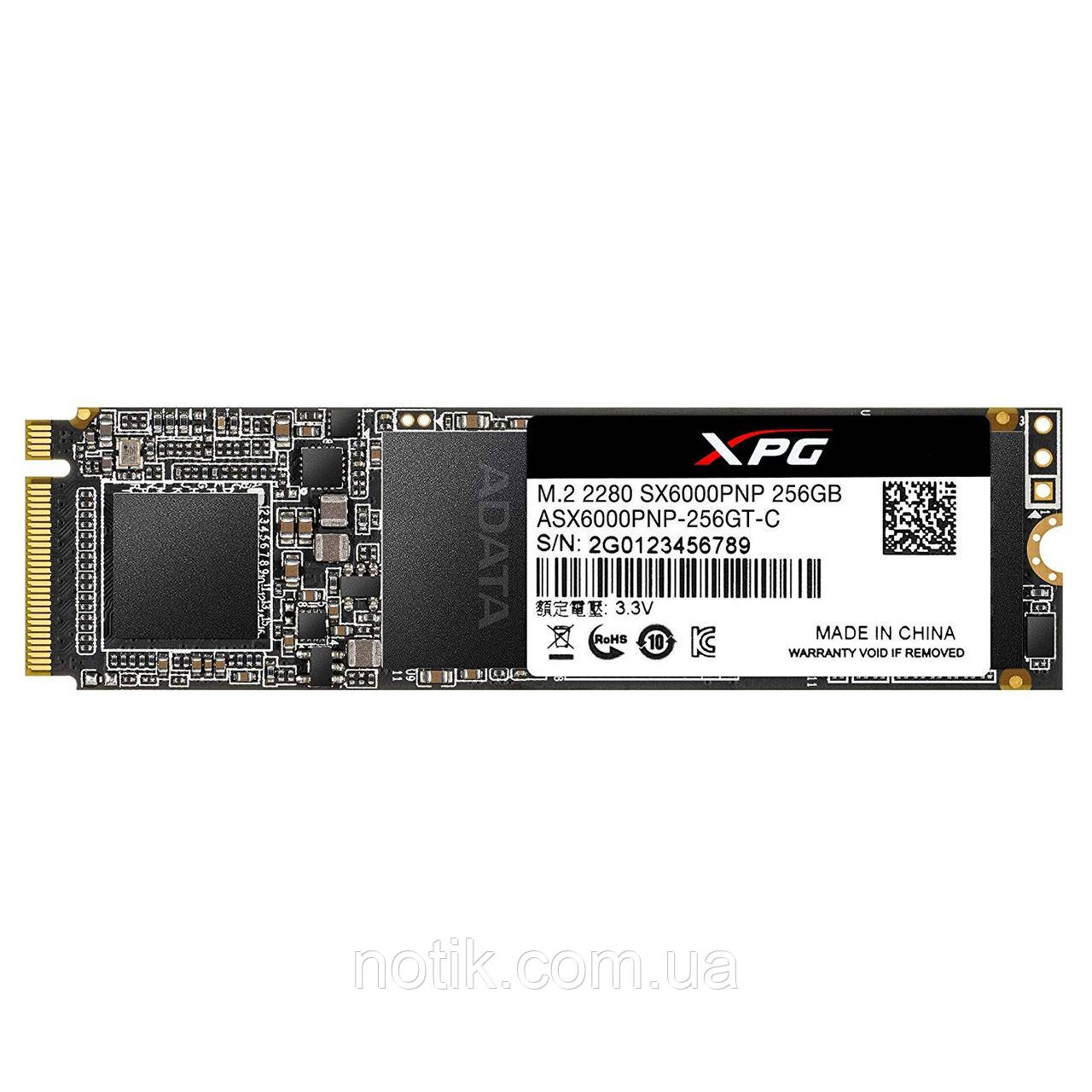 Твердотельный накопитель M.2 256Gb, A-Data XPG SX6000 Pro, PCI-E 4x, 3D TLC, 2100/1200 MB/s (ASX6000PNP-256GT-C)