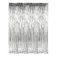 Фольгированная шторка из дождика для фотозон серебро 1 х 2 метра