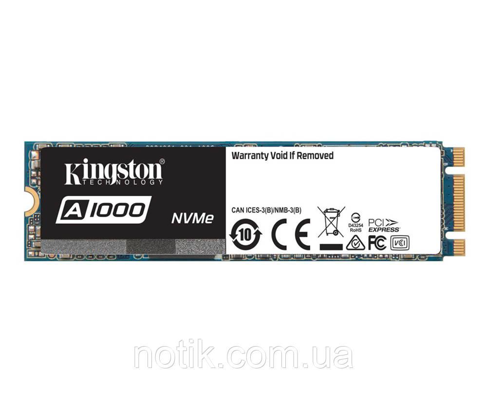 Твердотельный накопитель M.2 960Gb, Kingston A1000, PCI-E 2x, TLC 3D NAND, 1500/1000 MB/s (SA1000M8/960G)